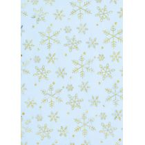 CREApop® Deko-Stoff 29 cm/ 1m Organza-Eiskristalle eisblau/gold