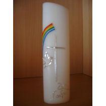 Taufkerze ovale Form Regenbogen,Taube einfaches Kreuz handarbeit