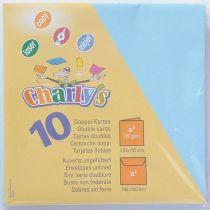 Charly s Packung quadratisch hellblau 10 Karten + 10 Umschläge