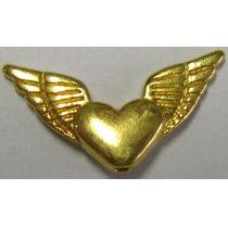 Metallverzierteil echt vergoldet nickelfrei 25mm geflügeltes Herz