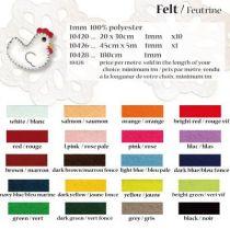 Filz 20x30cm 1mm dick verschiedene Farben