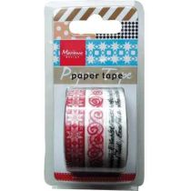 Paper Tape Christmas Red 3 ver. Muster 3x5m  10mm
