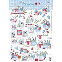 Schneidebogen Decoupage-Blätter Elines Weihnachtseulen 1 A4