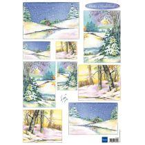 Schneidebogen Decoupage-Blätter Winterwunderland 1 A4