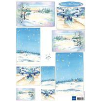Schneidebogen Decoupage-Blätter Winterwunderland 2 A4