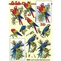 Stanzbogen metallic Papagei