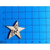 Holz-Stern mit Tribal Laserausschnitt  verschiedene Größen