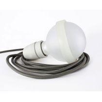Graue Lampe, satinierte Glaskugel mit grauem Textilkabel