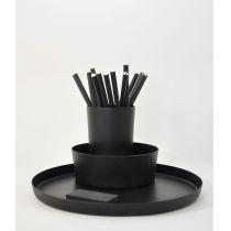 Utensilo Triple - Schalenset aus schwarz lackiertem Aluminium