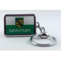 Schlüsselanhänger Sachsen Sglatschtglei massives Metall 3D
