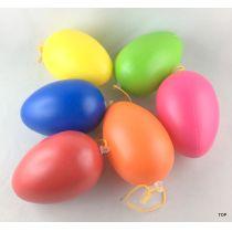 6 Deko-Eier, bunt, Aufhängung, 8 cm Kunststoff mattiert