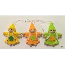 3er Set Kinder mit Aufhänger Frülingswichtel Holz Filz Ostern