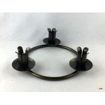 3er Kerzenständer Kerzenhalter Rund metallic Bronze gepulvert