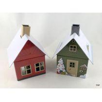 Räucherhaus grün oder rot mit intergriertem Räucherkerzenhalter