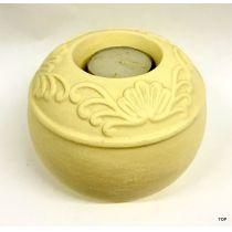 Teelichthalter rund Beige Kerzenhalter Dekokoration Keramik