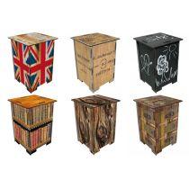 Photohocker Fotohocker Hocker Bestelltisch Tisch klein Teekiste British Holz Rinde Union Jack Bücher