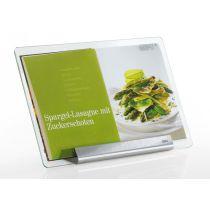 Kochbuchhalter Libro mit Scheibe aus Sicherheitsglas Edelstahl Kochbuchständer Kochbuch Halter
