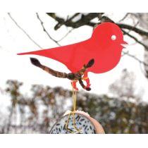 Gartendeko Astwart Vogel rot Gartendekoration Futterstelle Futterstation Baumdekoration Meisenknödelhalter