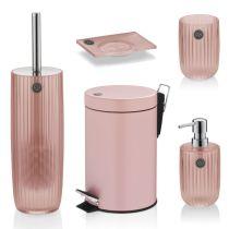 TOM TAILOR Badserie Shiny Stripes Rose Bad Seifenspender WC-Garnitur Kosmetikeimer
