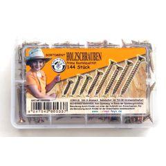 KIDS AT WORK Box Holzschrauben gelb, sortiert, 144 Stück