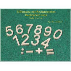 Ebert Ziffernsatz mit Rechenzeichen aus Holz 16 Teile