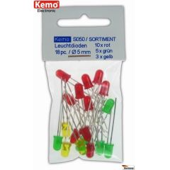 Kemo LEDs Ø 5mm rot-grün-gelb ca. 18 Stück