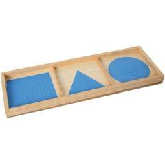 Satz Kreise, Dreiecke und Quadrate in Blau
