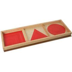 Satz Kreise, Dreiecke und Quadrate in Rot