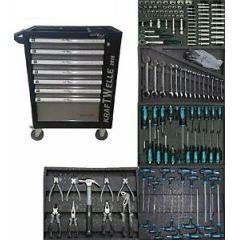 XXL Werkstattwagen gefüllt mit Werkzeug 5 Fächer Voll