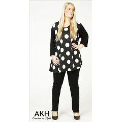 Lagenlook Shirt große Punkte AKH Fashion