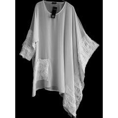 überweites elegantes Chiffon-Shirt weiß