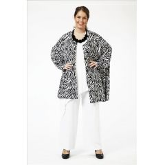 Lagenlook Blusen-Jacke schwarz-weiß Zebradesign