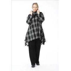 Lagenlook Fleece-Tuniken schwarz grau