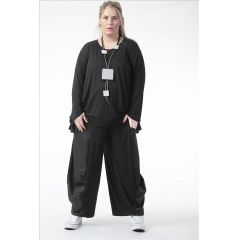 schwarze elegante Lagenlook Hosen mit Taft