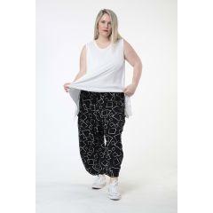 Lagenlook Hosen schwarz-weiß Quadrate