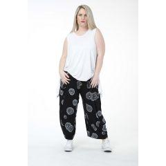 Lagenlook Hosen schwarz weiße Kreise