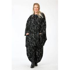 weite Lagenlook Kapuzen-Jacke schwarz anthra