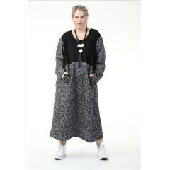 elegante Damen Kleider grau-schwarz