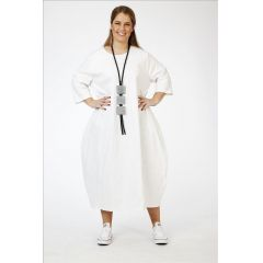 weiße Ballonkleider Baumwolle-Leinen-Viskose