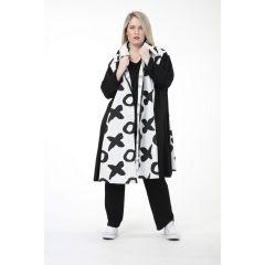 schwarz-weiß Lagenlook Kurzmäntel