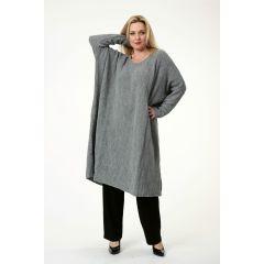 Pullover-Kleider grau große Größen Übergrößen