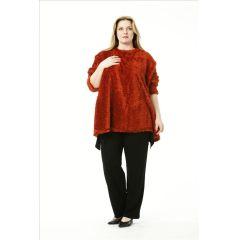 farbenfrohe Lagenlook Plüsch-Pullover