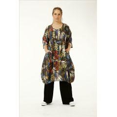 buntes Lagenlook Tunika-Kleid Ballonform