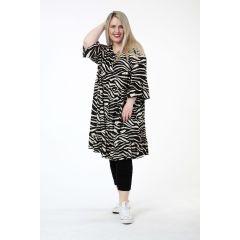 schwarz-beige Lagenlook Tunika-Kleider Volants