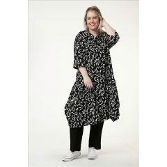 Tunika-Kleider schwarz-weiß Blätter