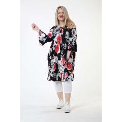 Tunika-Kleider Blumen Volants große Größen