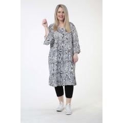 weiß-schwarze Lagenlook Tunika-Kleider Volants