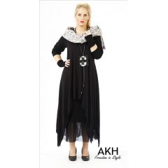 Lagenlook Tunika schwarz XL XXL AKH Fashion