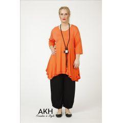 Lagenlook Shirt orange Rüschen