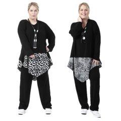 schwarz-weiße Lagenlook Tuniken asymmetrisch
